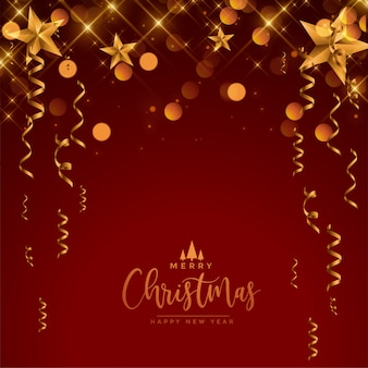 Feliz festa festival de natal vermelho e ouro saudação