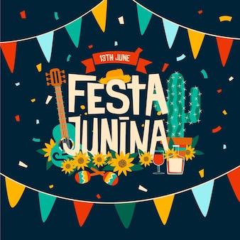 Feliz festa junina festival com instrumentos musicais