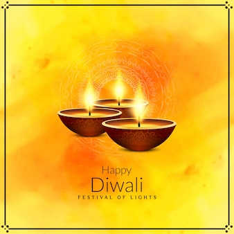 Feliz festival de diwali amarelo