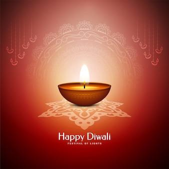Feliz festival de diwali cartão vermelho com vela