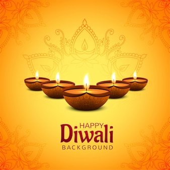Feliz festival de diwali com fundo de cartão comemorativo de lâmpada de óleo