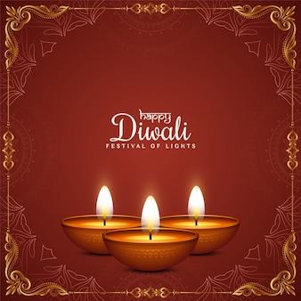 Feliz festival de diwali com fundo vermelho e moldura dourada