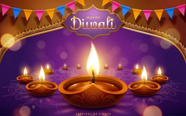 Feliz festival de diwali com lâmpadas a óleo e bandeiras em fundo roxo