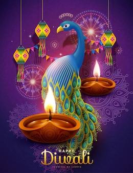 Feliz festival de diwali com lâmpadas a óleo e pavão auspicioso em fundo roxo rangoli