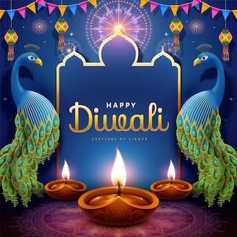 Feliz festival de diwali com lâmpadas a óleo e pavões auspiciosos em fundo roxo rangoli