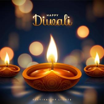 Feliz festival de diwali com lâmpadas a óleo em bokeh de fundo azul