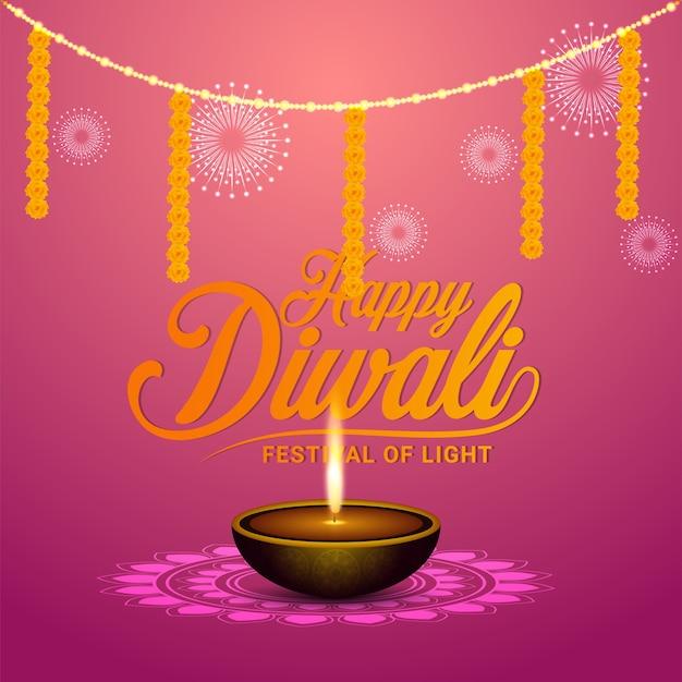 Feliz festival de diwali de luz de fundo e cartão comemorativo