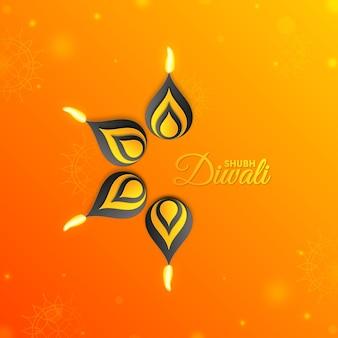 Feliz festival de diwali de luz e fundo de lâmpada de óleo