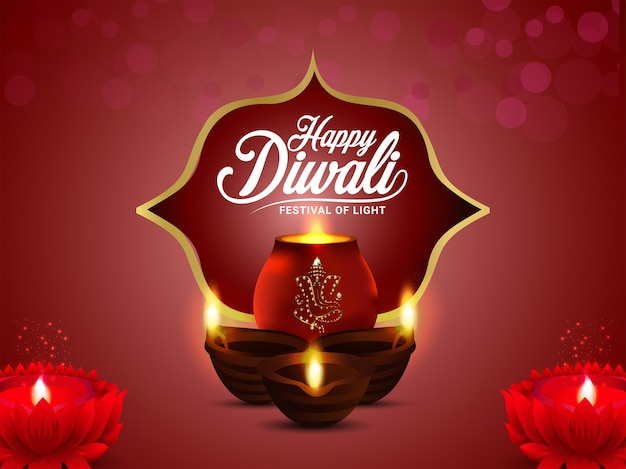 Feliz festival de diwali indiano de cartão de luz com diwali diya