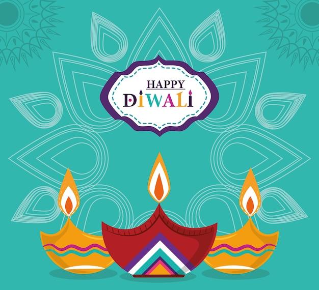 Feliz festival de diwali, lâmpadas diya com velas mandala de fundo verde