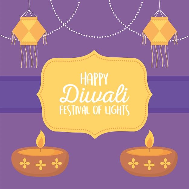 Feliz festival de diwali, lanternas penduradas e lapms de diya com velas festival de luzes.