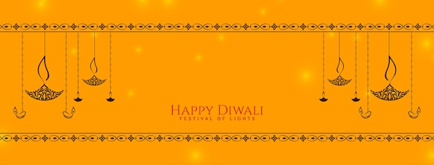 Feliz festival de diwali lindo desenho de bandeira amarela vector