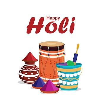 Feliz festival de holi colorido com tigela e pote de lama gulal