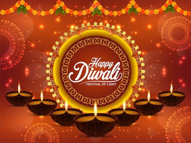 Feliz festival de luz diwali com diwali diya criativo e plano de fundo