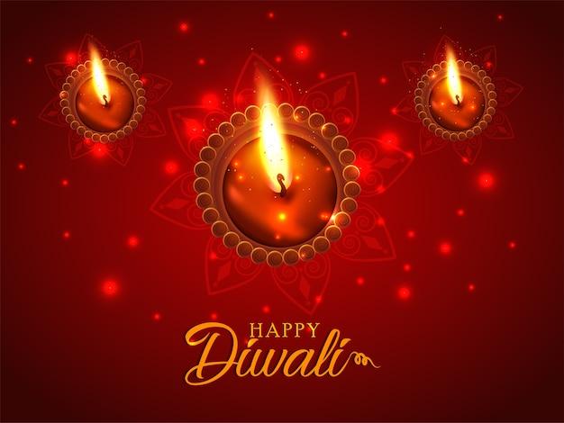 Feliz festival de luz diwali com fundo brilhante