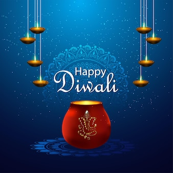 Feliz festival de luzes diwali com diya criativo e ganesha dourado