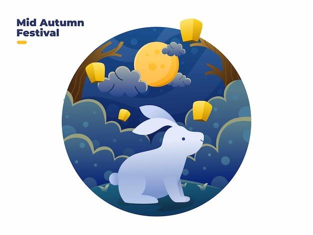 Feliz festival de meados do outono com coelhos bonitos, linda lua e ilustração de lanterna a voar