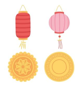 Feliz festival de meados do outono, ícones de lanternas chinesas e bolos lunares