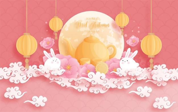 Feliz festival de outono mid com lótus bonito e coelho, lua cheia. ilustração de corte de papel.