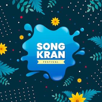 Feliz festival de songkran design plano e respingos de água