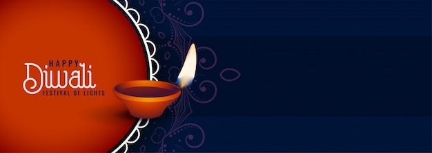 Feliz festival deepawali queimando diya banner