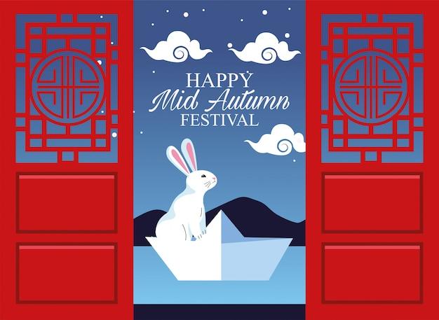 Feliz festival do meio do outono com coelho nas portas