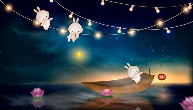 Feliz festival do meio outono com lua