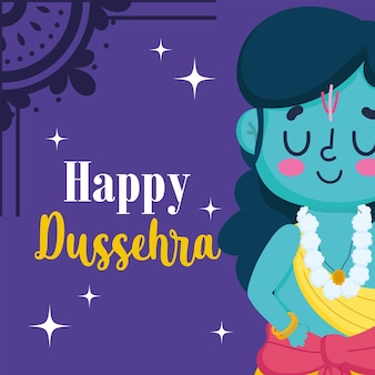 Feliz festival dussehra da índia, cartoon lord rama tradicional cultura ritual religiosa