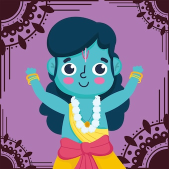 Feliz festival dussehra da índia, lord rama tradicional evento religioso indiano