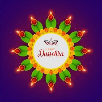 Feliz festival dussehra navratri durga puja vijayadashami, também conhecido como dasara