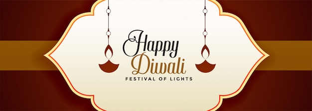 Feliz festival festival de diwali nas cores marrons