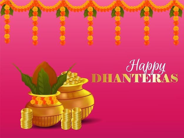 Feliz festival indiano dhanteras com fundo criativo com kalash e pote de moedas de ouro
