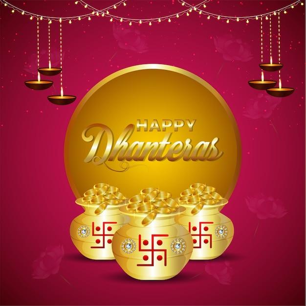 Feliz festival indiano dhanteras com pote de moedas de ouro
