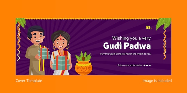 Feliz festival indiano gudi padwa com um homem indiano e uma mulher segurando presentes modelo de capa do facebook