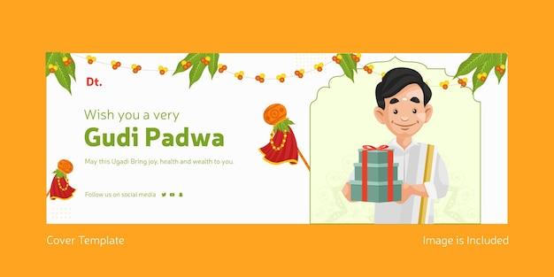 Feliz festival indiano gudi padwa com um homem indiano segurando presentes modelo de capa do facebook
