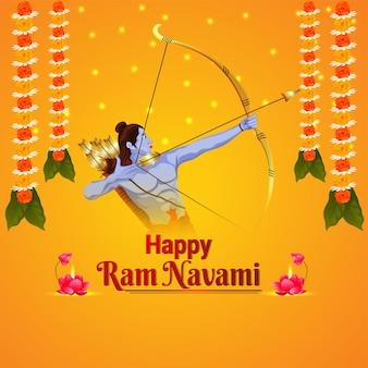 Feliz festival indiano ram navami com ilustração criativa do senhor rama
