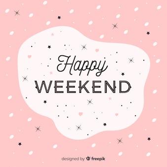 Feliz, fim semana, lettering