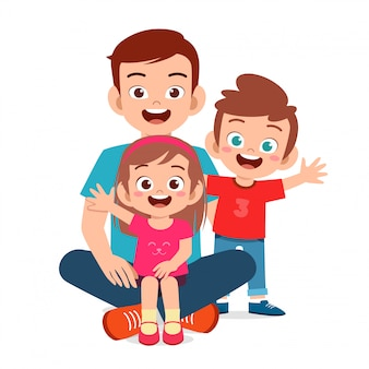 Feliz fofa família mãe pai filho filha junto