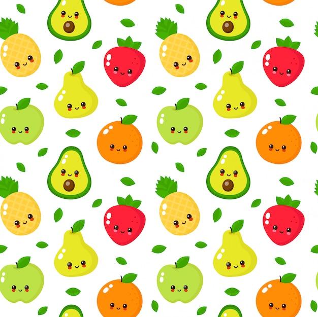 Feliz fofo sorridente frutas sem costura padrão