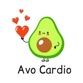 Feliz fofo sorrindo abacate com coração