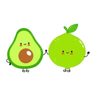 Feliz fofo sorrindo abacate e limão