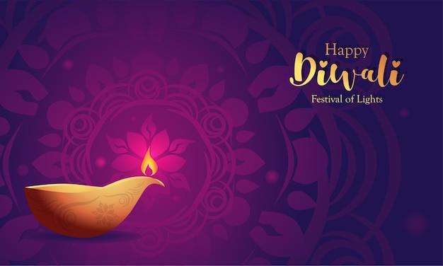 Feliz fundo diwali com enfeites de mandala