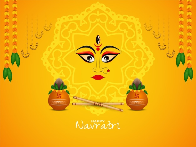 Feliz fundo do festival navratri com vetor de kalash e dandiya