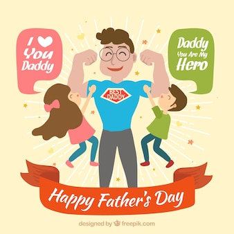 Feliz fundo super pai com seus filhos