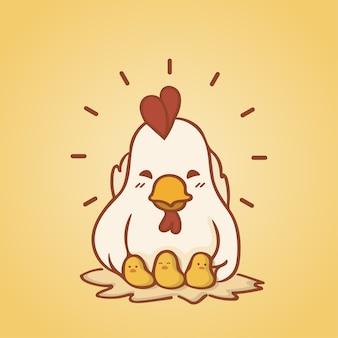 Feliz, galinha, personagem