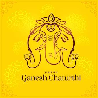 Feliz ganesh chaturthi design criativo de cartão de festival