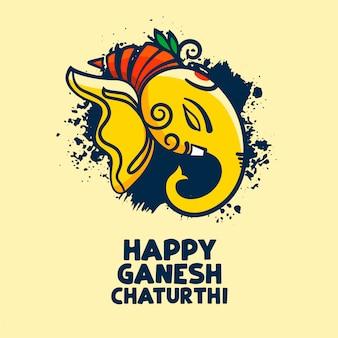 Feliz ganesh chaturthi elegante design de cartão de festival