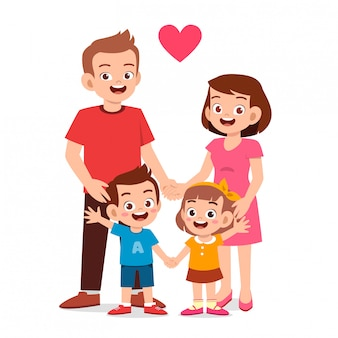Feliz garoto bonitinho menino e menina com a mãe e o pai