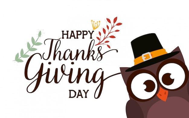 Feliz graças dando cartão com coruja