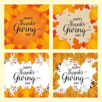 Feliz graças dando cartão conjunto com decoração floral